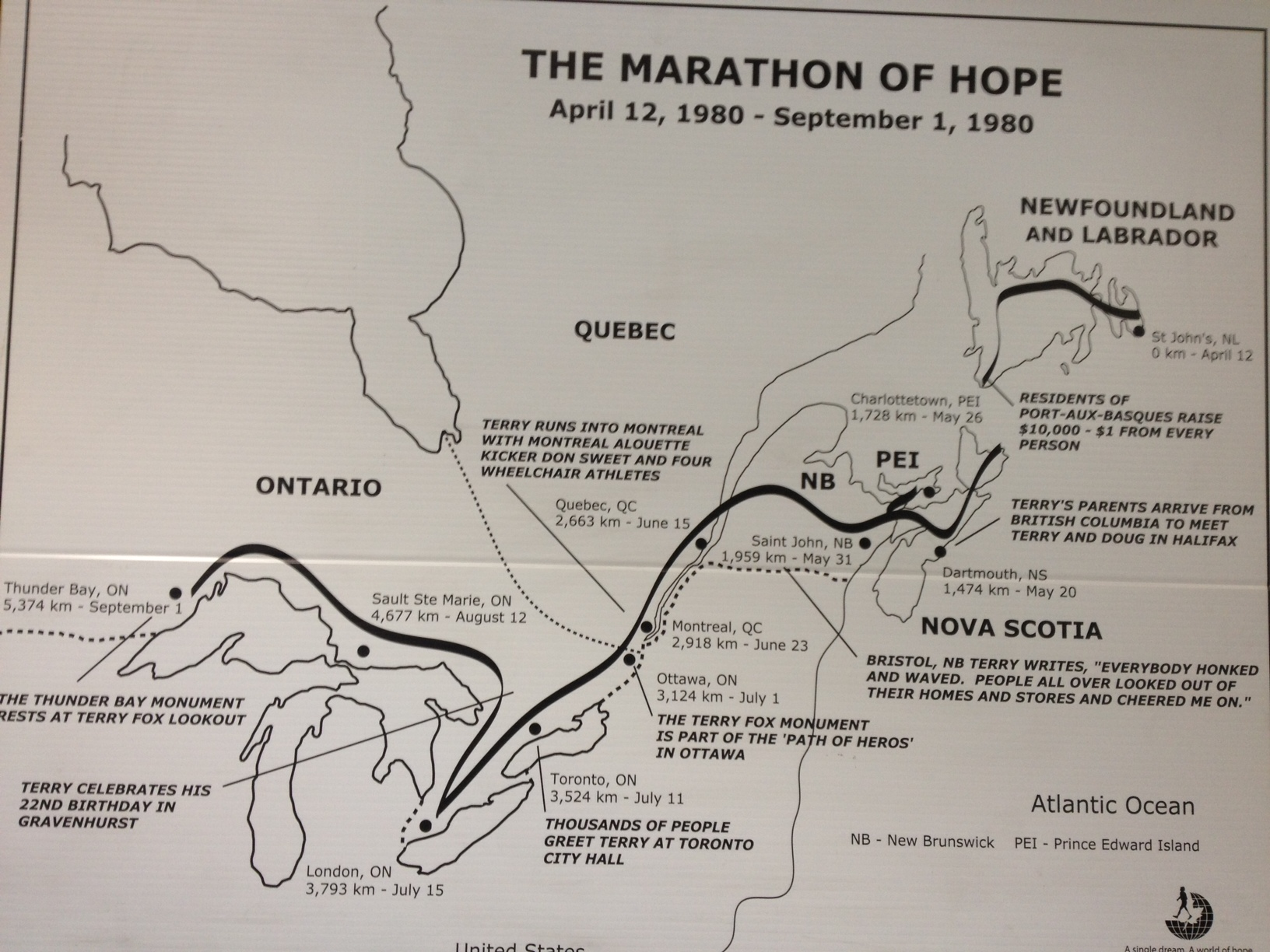 terry fox run on laura secord map, fred hutchinson map, samuel de champlain map, mother teresa map,