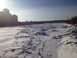frozen bow river calgary alberta