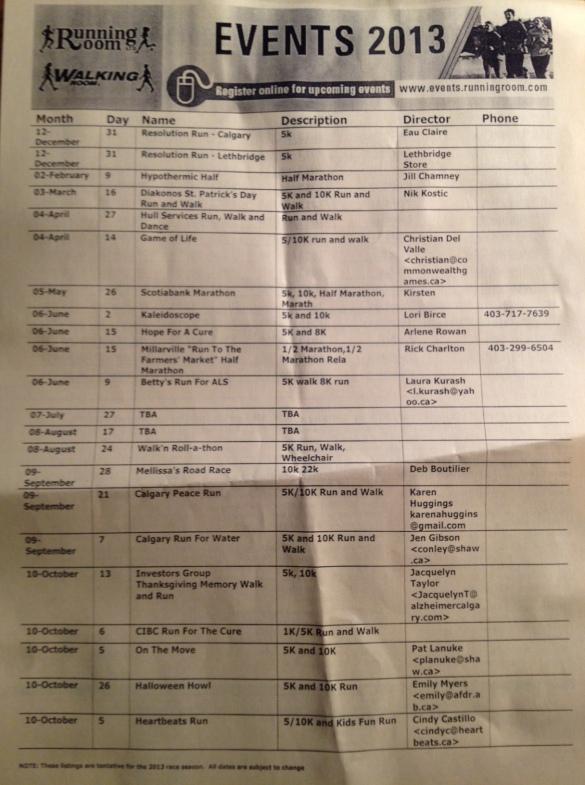 2013 Running Room Event Schedule Calgary Alberta
