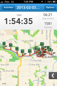 18km running route around calgary
