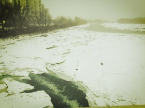 ice on the Bow River Calgary