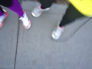 kat and sue yellow and purple running