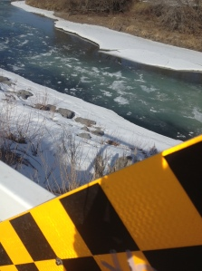 icy river in calgary