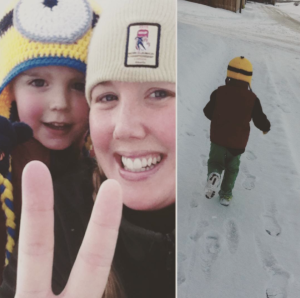 mom and son running in calgary
